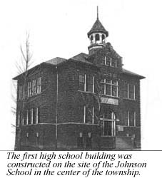 The first high school building in Liberty Township