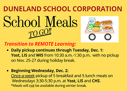 School Meals TO GO ad for Remote learning