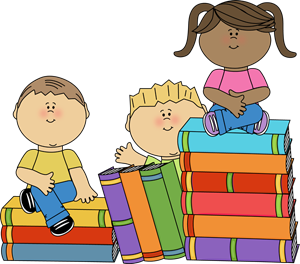 Kids sitting on books clip art