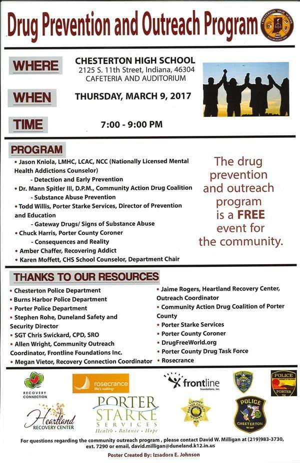 Photo of Drug Prevention & Outreach Program Flyer