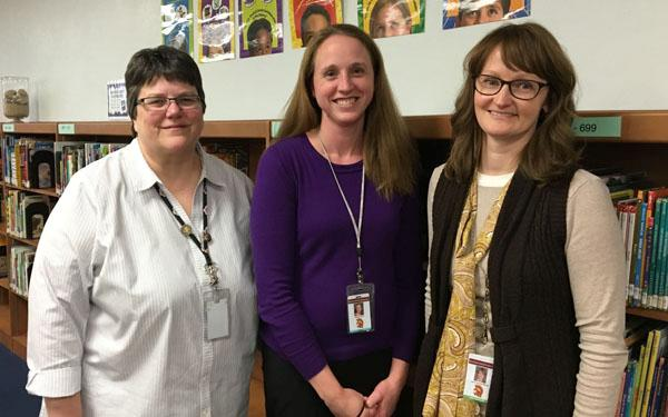 Duneland Media Specialists, left to right, Karla Wilson, director of Media Services, Michelle Ward, Bailly Elementary and Jan
